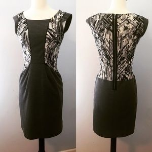 BCBGMAXAZRIA Bodycon Illusion Dress Pockets Zip XS